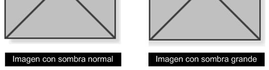Las imágenes de sombra muy grande producen bordes más feos