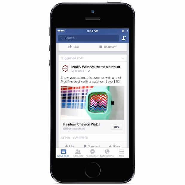Facebook prueba un botón para comprar